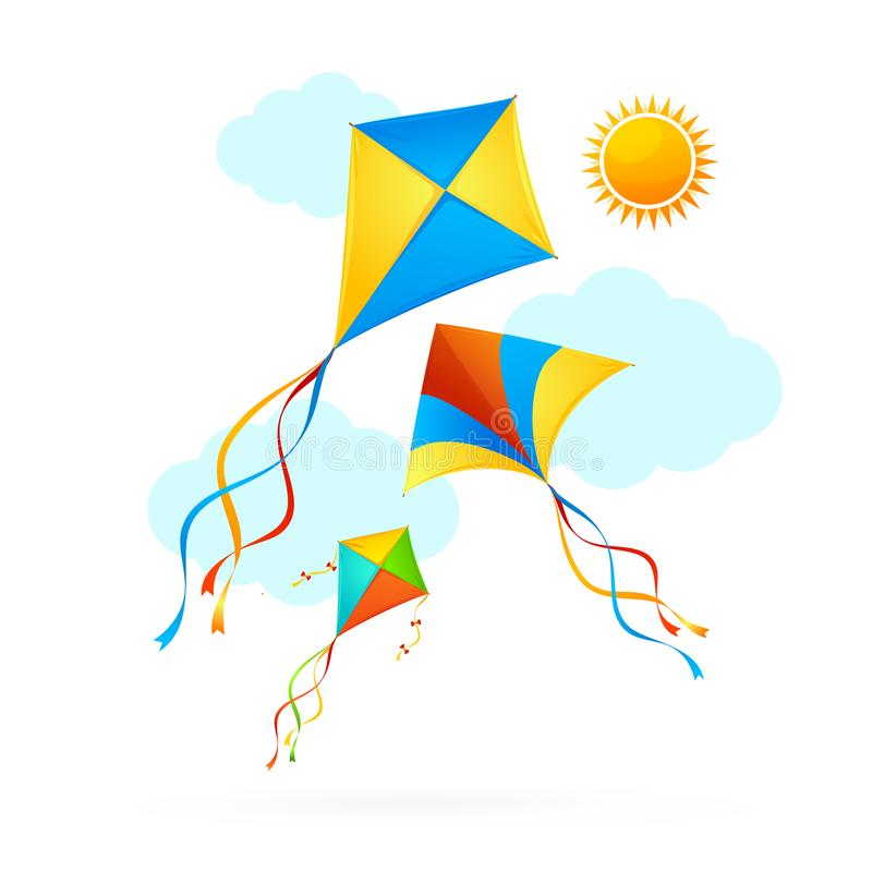 Flying Kite and Clouds on a Sky Summer Concept Background. Vector royalty free illustration