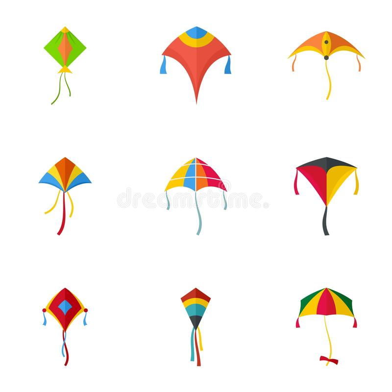 Group Of Paper Kites In The Sky, Vector Icon, Background
