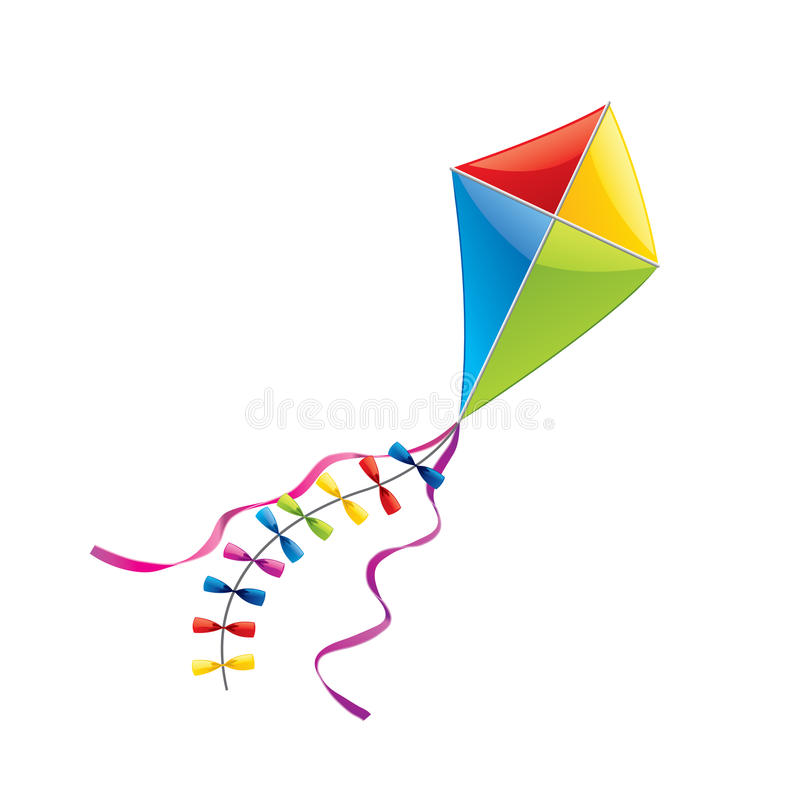 Free Flying Kite Isolated On White Vector Royalty Free Stock Images - 47599409
