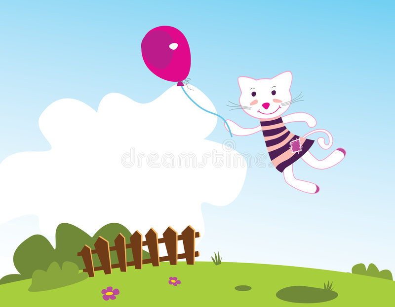 Flying kitten royalty free illustration