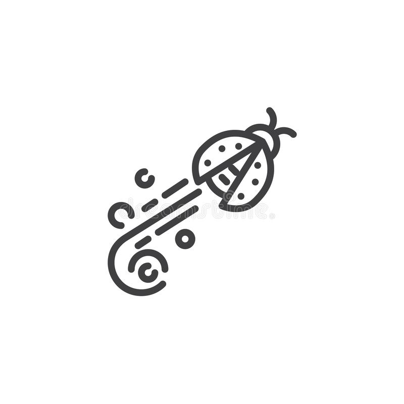 Flying ladybug line icon. Linear style sign for mobile concept and web design. Ladybird fly outline vector icon. Symbol, logo illustration. Pixel perfect royalty free illustration
