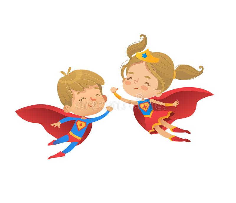 Flying and laughing Superhero boy and girl. Brown Hair Super hero children illustration isolated on white background. Flying and laughing Superhero kids boy and royalty free illustration