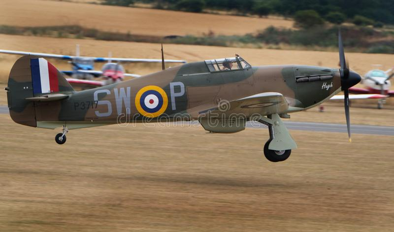 The Hawker Hurricane is a British single-seat fighter aircraft of the 1930s–1940s. Flying Legends air show, Imperial War Museum, Duxford, Cambridgeshire royalty free stock photography