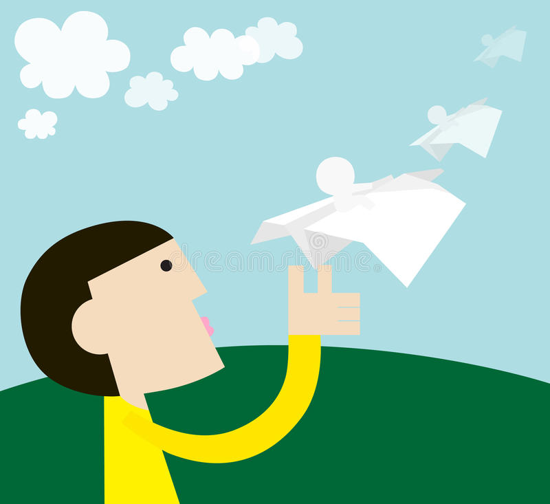 Flying. Life is like a paper airplane,we don`t know where will we arrive finally stock illustration