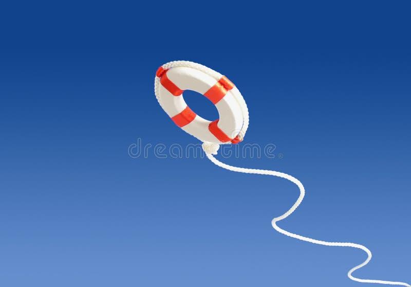 Flying life preserver for help stock photo