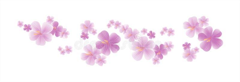 Flying light Purple Violet flowers isolated on white background. Apple-tree flowers. Cherry blossom. Vector EPS 10 cmyk.  vector illustration