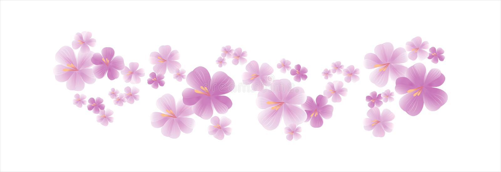 Flying light Purple Violet flowers isolated on white background. Apple-tree flowers. Cherry blossom. Vector EPS 10 cmyk royalty free illustration