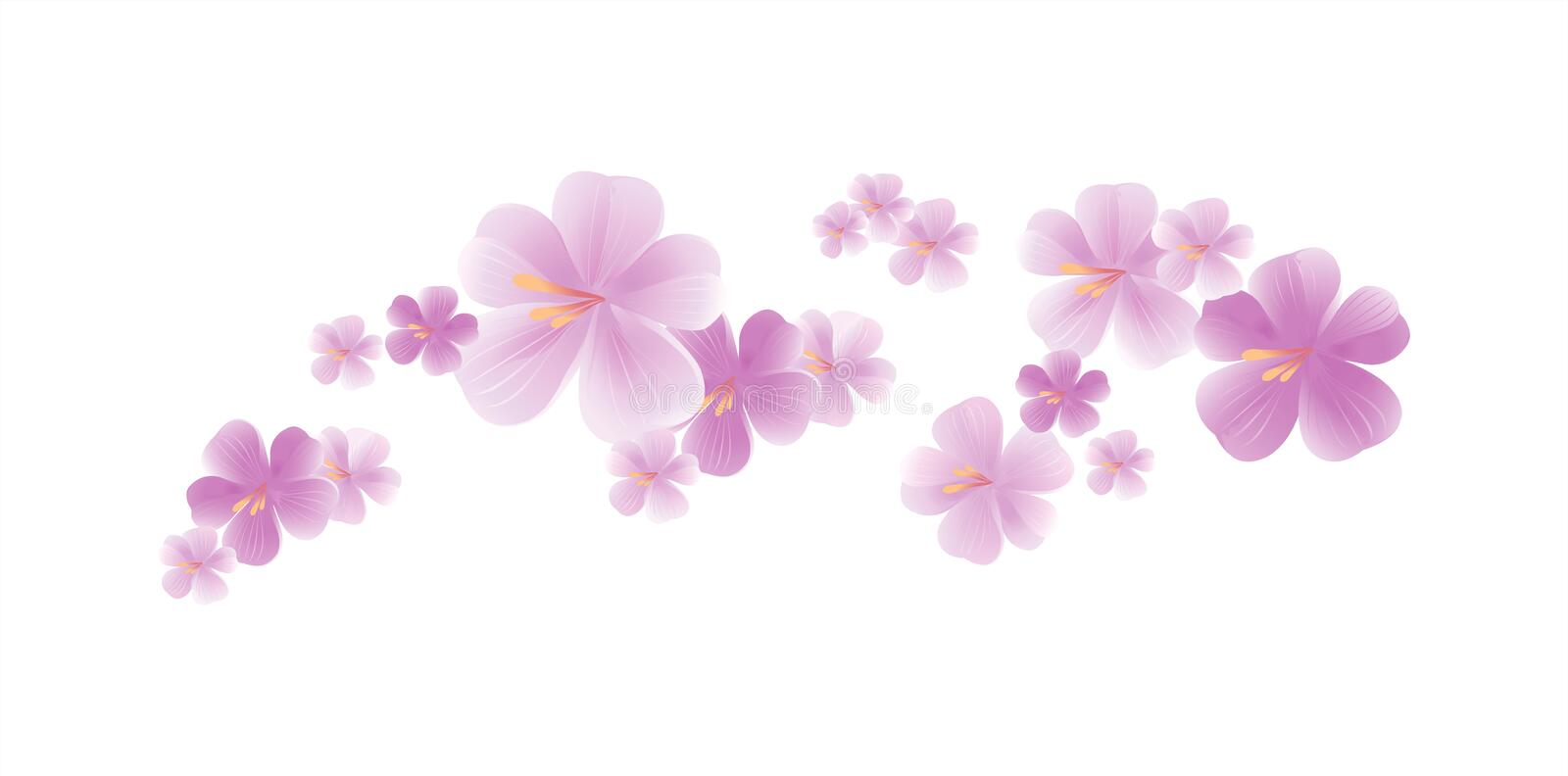Flying light Purple Violet flowers isolated on white background. Apple-tree flowers. Cherry blossom. Vector EPS 10 cmyk stock illustration