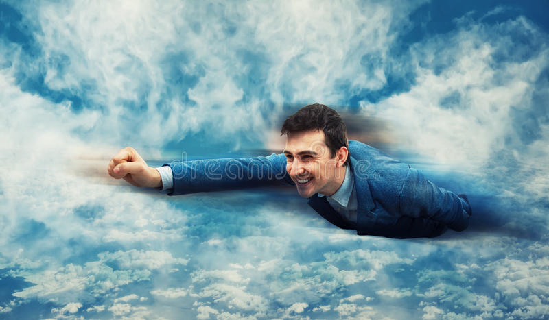 Flying like a superhero royalty free stock images
