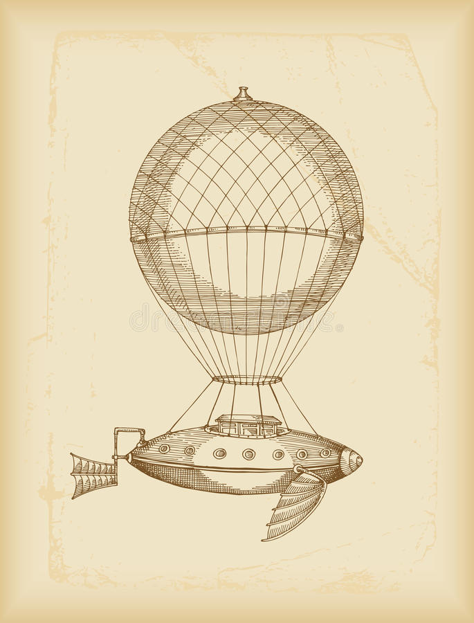 Flying machine sketch. Sepia- vector illustration