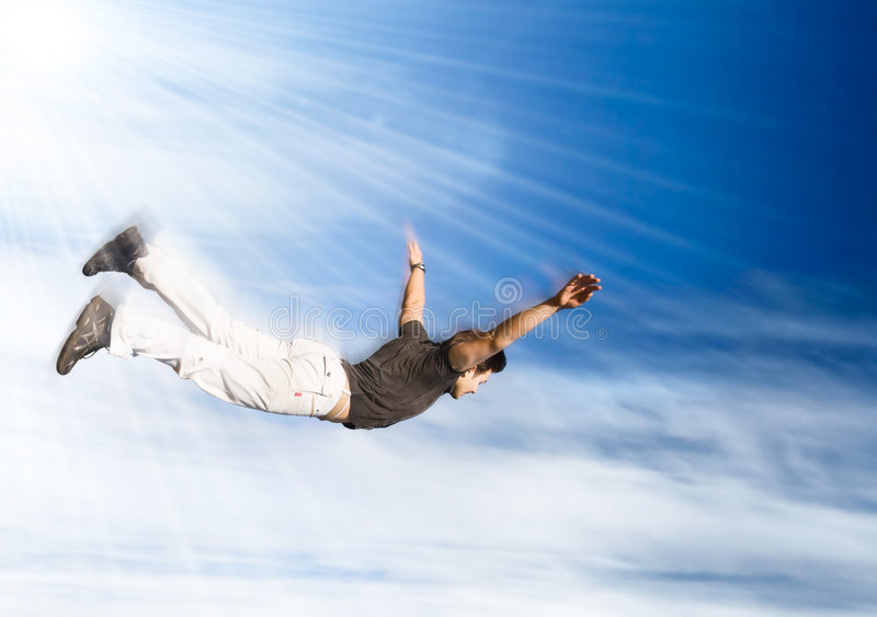 Flying man royalty free stock photos