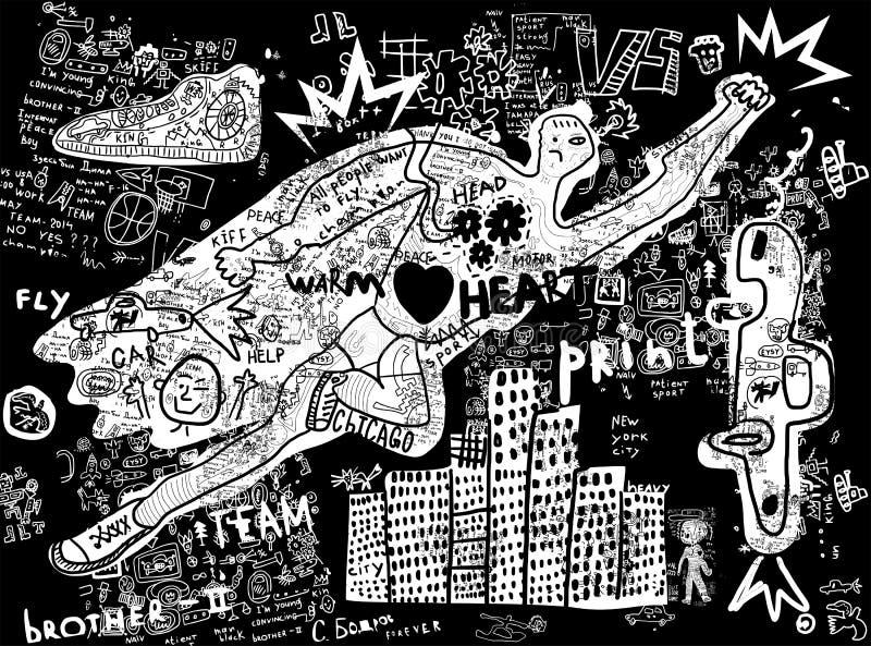 Flying man stock illustration