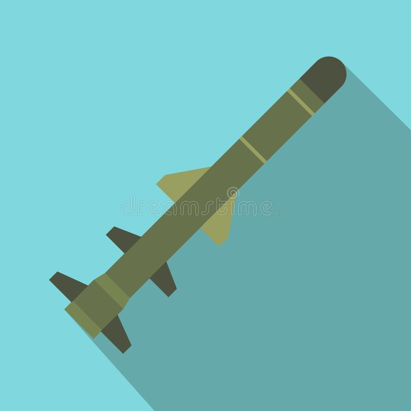 Flying military missile flat icon stock illustration