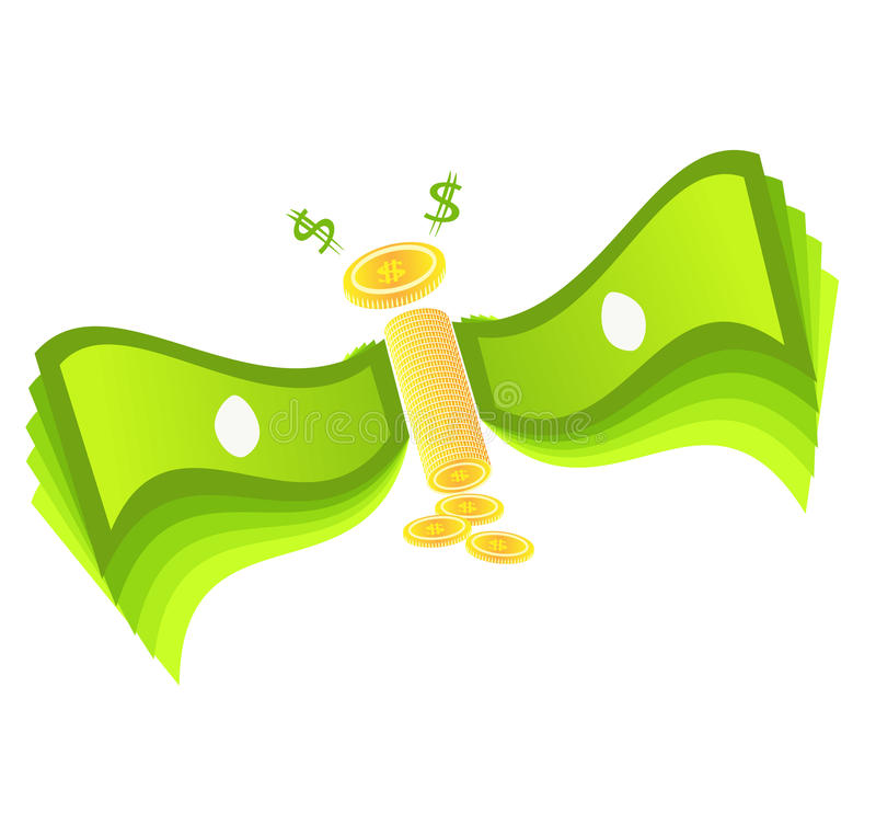 Flying money and dropping coins stock photo