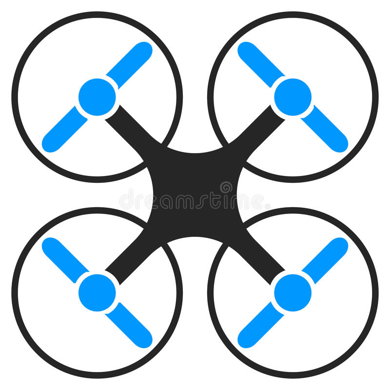 Flying multicopter gray and blue. Vector icon stock illustration