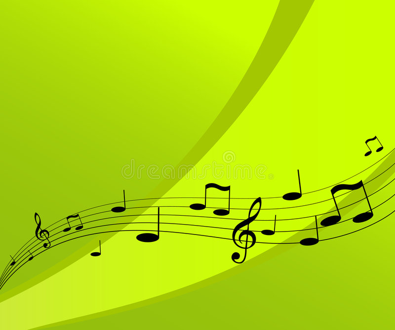 Flying music on green background. royalty free stock image
