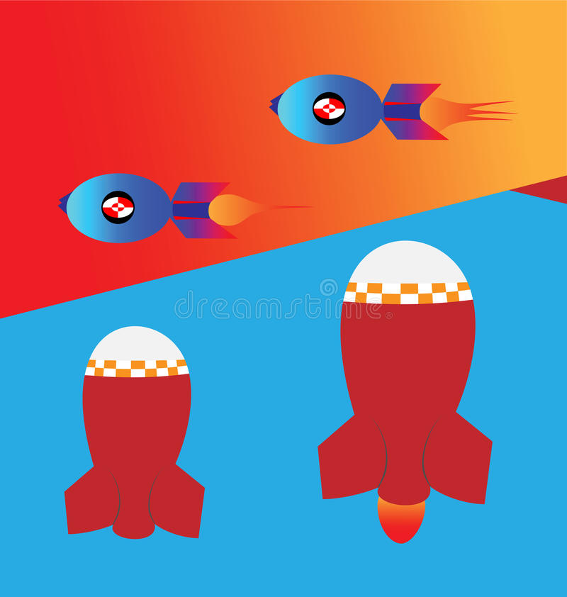 Flying and newly launched bombs and rockets. Arthouse vector illustration