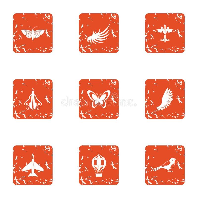 Flying object icons set, grunge style stock illustration