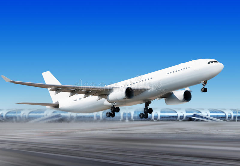 Flying-off plane from airport royalty free stock images