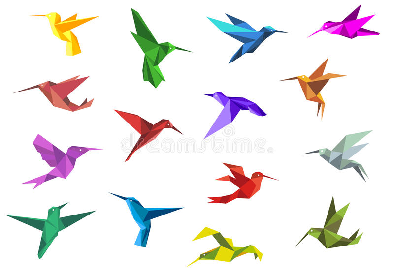 Flying origami hummingbirds or colibri birds. Flying origami paper hummingbirds or colibri isolated on white background, suitable for nature or logo design royalty free illustration