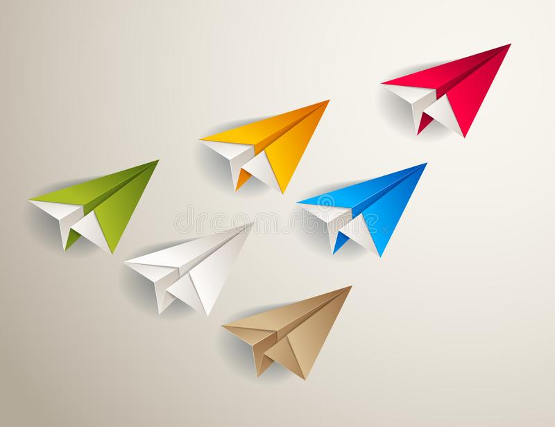 Flying origami plane leading the team group of smaller planes, business leadership concept. Flying origami plane leading the team group of smaller planes royalty free illustration