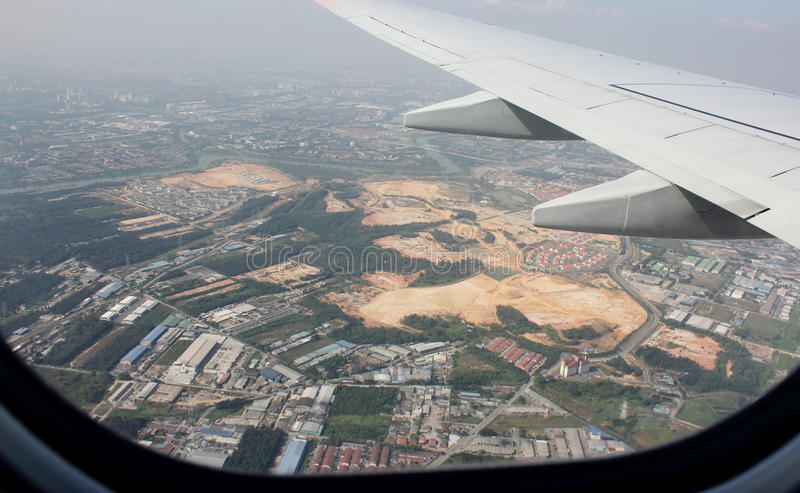 Flying over the area Malaysia stock photography