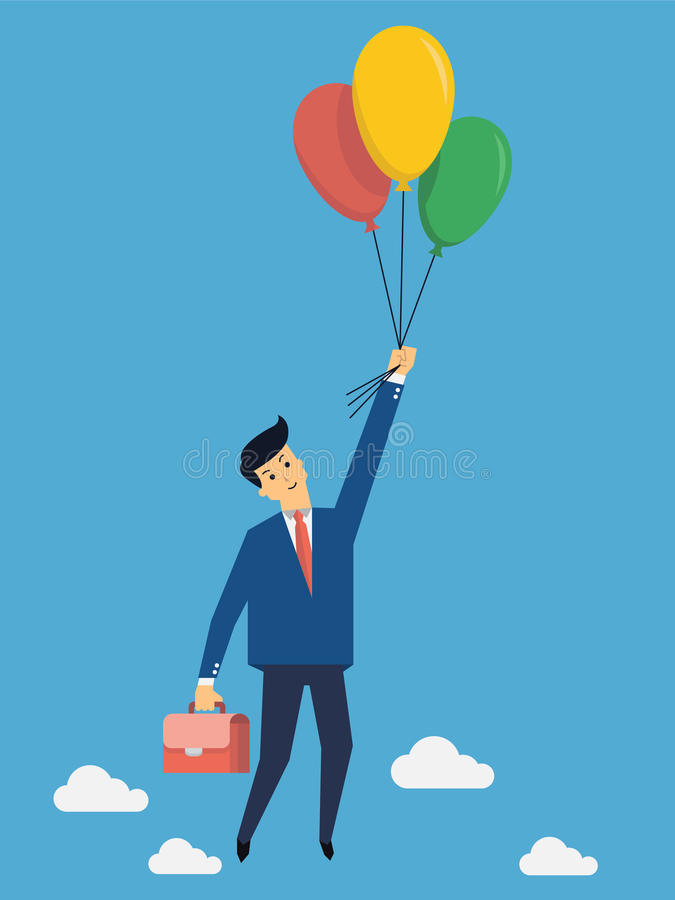 Flying over with balloon. Businessman flying into sky with colorful balloon, business concept in freedom and opportunity royalty free illustration