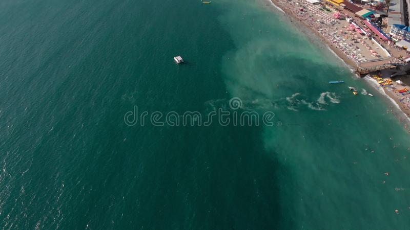 Flying over the bay with a beach area. Aerial shot royalty free stock photos