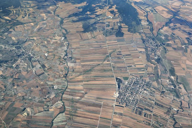 Aerial view of rural region stock photo