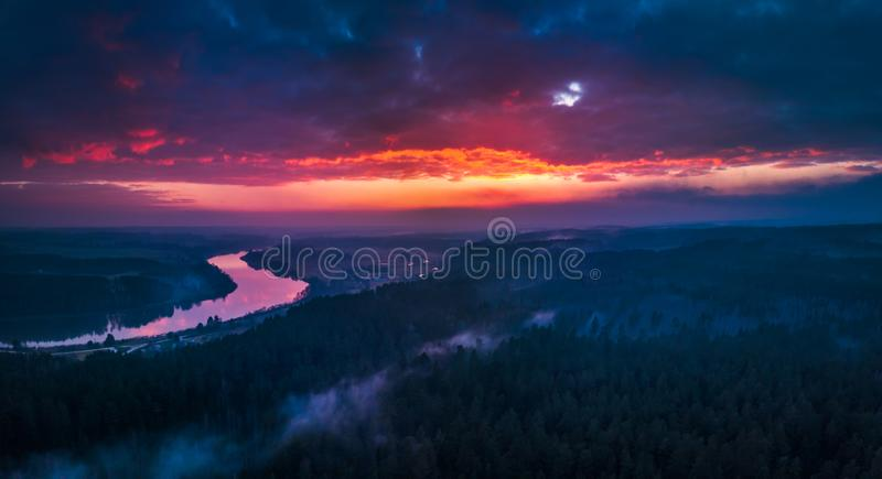 Flying over the forests in the evening royalty free stock image