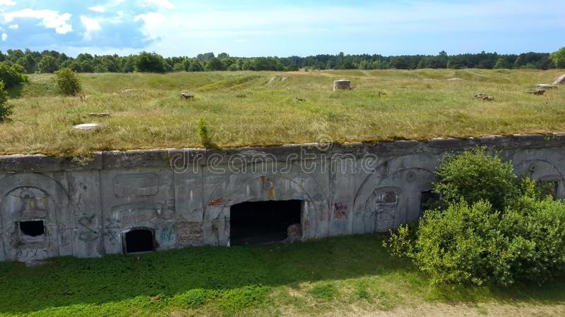 Liepaja War Port, Latvia Old South Forts  Baltic Sea. Sea Seaside Aerial Drone Top View. Flying Over Liepaja War Port, Latvia Old South Forts  Baltic Sea. Sea royalty free stock images