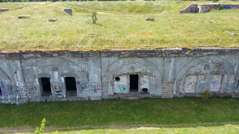 Liepaja War Port, Latvia Old South Forts  Baltic Sea. Sea Seaside Aerial Drone Top View. Flying Over Liepaja War Port, Latvia Old South Forts  Baltic Sea. Sea royalty free stock photo