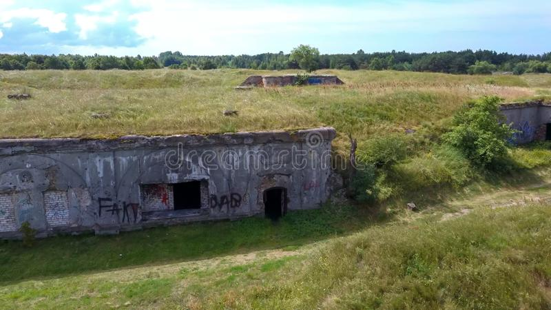 Liepaja War Port, Latvia Old South Forts  Baltic Sea. Sea Seaside Aerial Drone Top View. Flying Over Liepaja War Port, Latvia Old South Forts  Baltic Sea. Sea stock photography