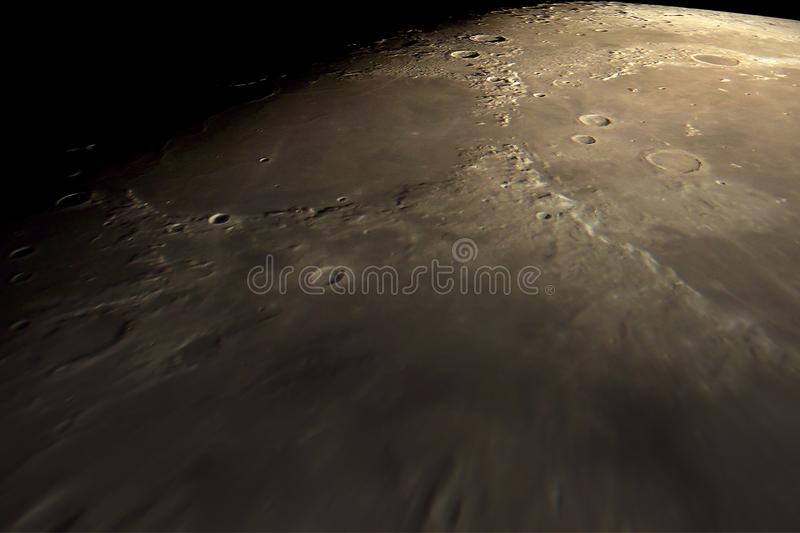 Flying over the lunar surface stock photo
