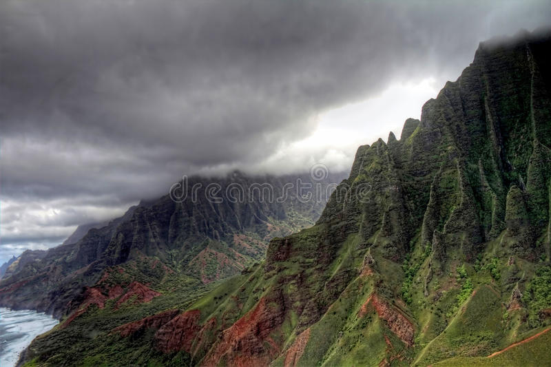 Flying over the Nā Pali Coast royalty free stock images
