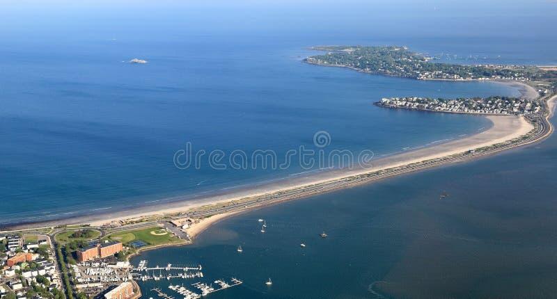 New England Coastline at Nahant Island- Aerial View royalty free stock photos