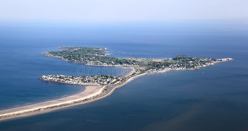 New England Coastline at Nahant Island- Aerial View stock images