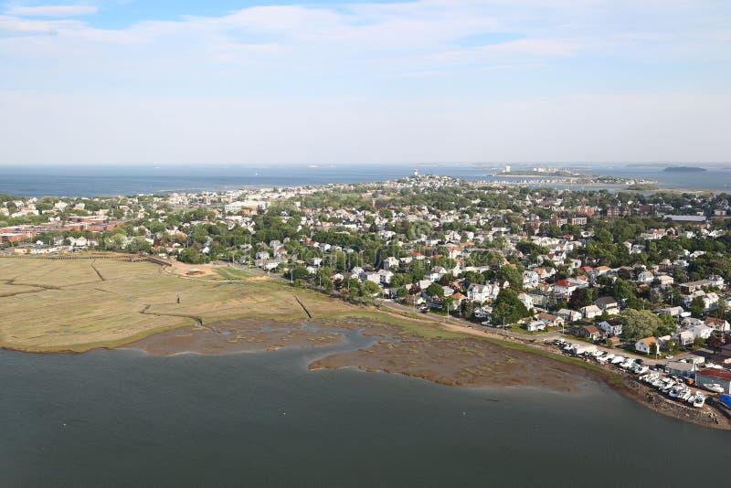 New England Coastline - Aerial View royalty free stock photos