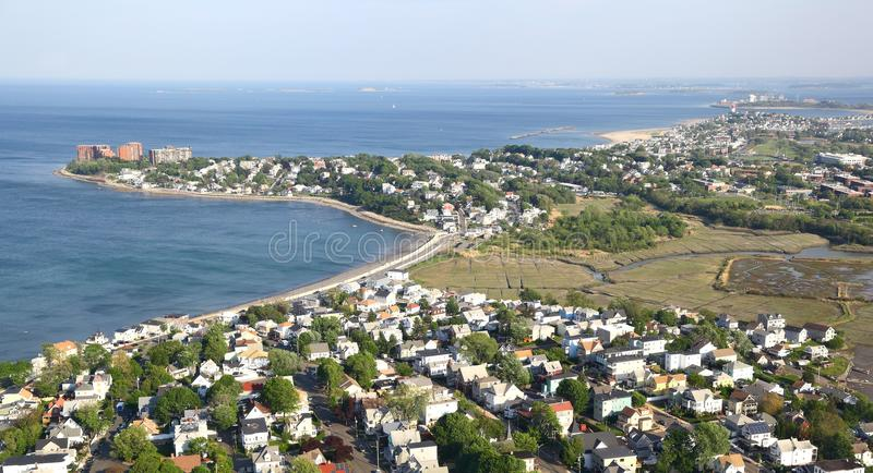New England Coastline - Aerial View royalty free stock photography