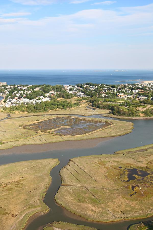 New England Coastline - Aerial View stock images