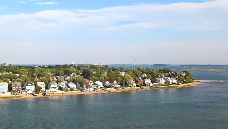 New England Coastline - Aerial View stock photo
