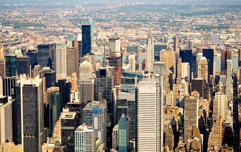Flying over New York City stock image