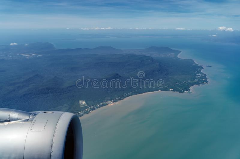 Flying over Phu Quoc island, Vietnam. royalty free stock image