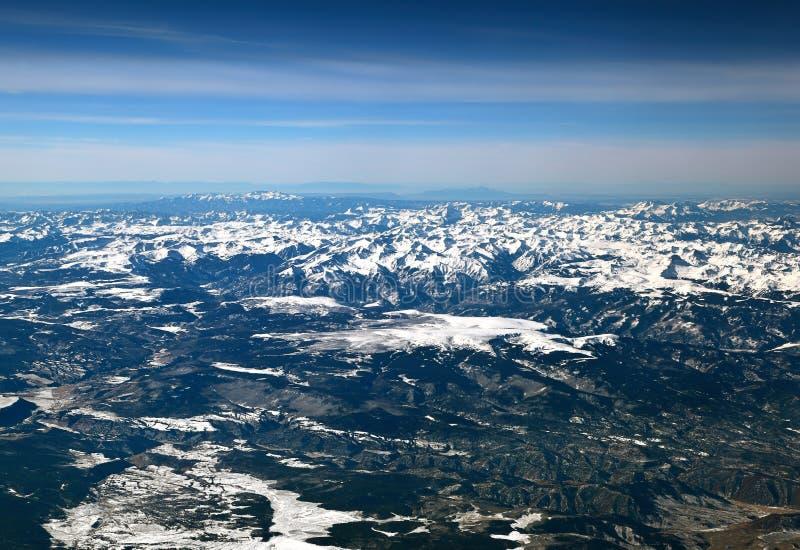 The San Juan mountains in the Colorado Rockies. Flying over the San Juan mountains covered in snow in winter in the Colorado rockies stock photography