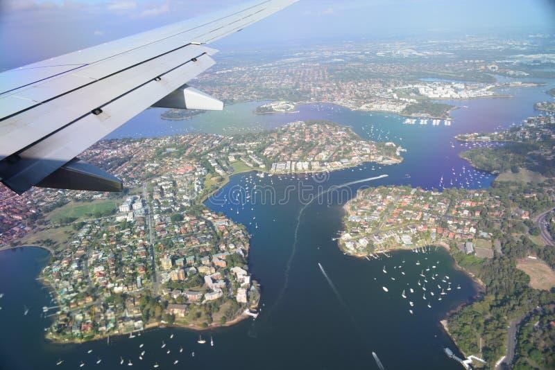 Flying Over Sydney Australia stock images