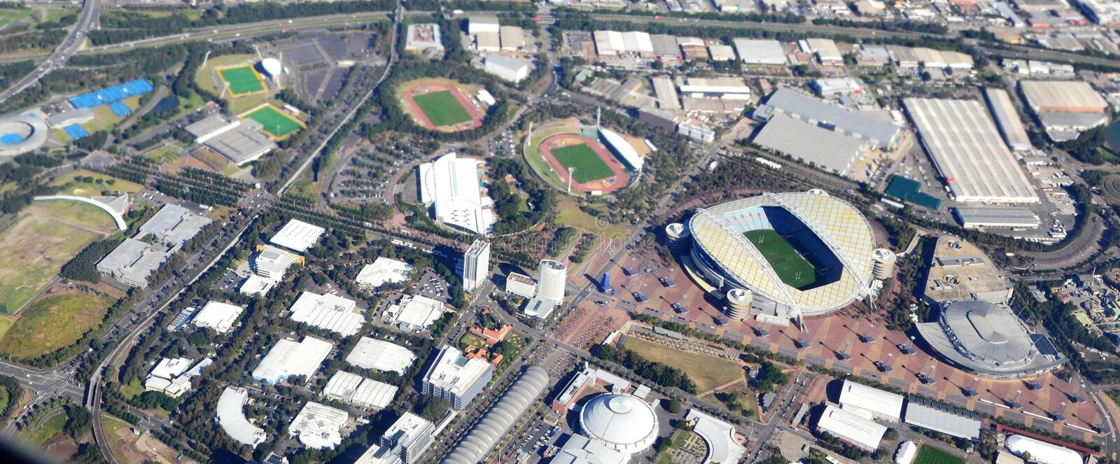 Aerial view of Sydney Olympic Park. Flying over Sydney Olympic Park showing the various sports stadiums and concert venues royalty free stock image