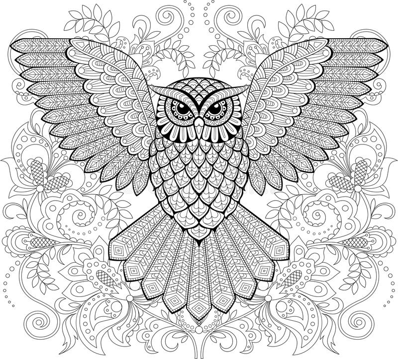 Kleurplaten Dieren Letter L Flying Owl And Floral Ornament In Zentangle Style Adult
