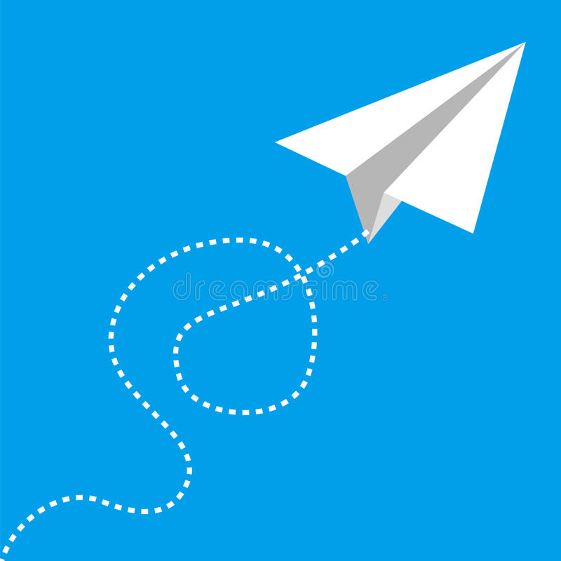 Flying paper airplane on blue royalty free illustration