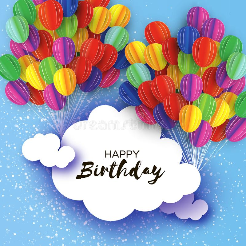 Flying Paper cut balloons in paper cut style. Colorful decoration for party, celebration, banner, card. Happy Birthday. Greeting card. Cloud frame space for stock illustration