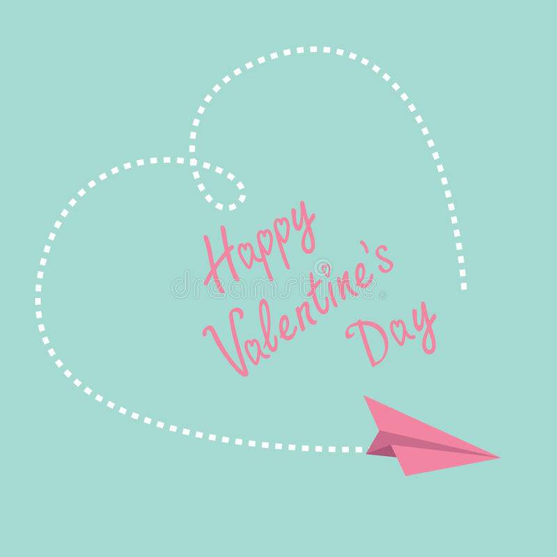 Flying paper plane. Big dash heart in the sky. Ha. Ppy Valentines Day card. Vector illustration vector illustration